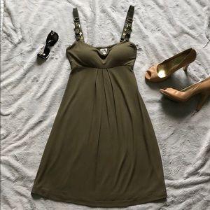 Cache army green mini dress w/ gold buckle straps